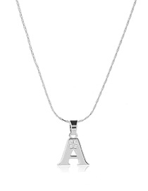 Fashion Silver Color Metal Lettera Shape Pendant Decorated Simple Long Chain Neckalce