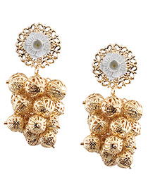 Trendy Gold Color Round Balls Decorated Pure Color Hollow Out Earrings