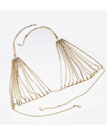 Fashion Gold Color Pure Color Decorated Multi-layer Design Body Chain