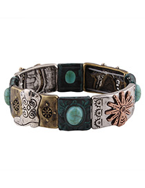 Fashion Bronze Sun Pattern Decorated Color Matching Simple Bracelet