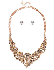 Fashion Gold Color Oval Shape Diamond Decorated Hollow Out Simple Jewelry Sets