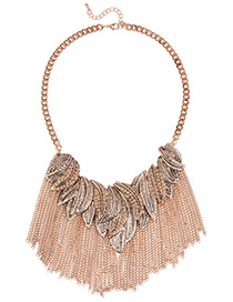 Fashion Gold Color Leaf&tassel Pendant Decorated Pure Color Necklace