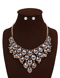 Fashion Gray Round Shape Diamond Decorated Pure Color Jewelry Sets