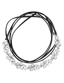 Vintage White Oval Shape Diamond Decorated Multi-layer Long Necklace
