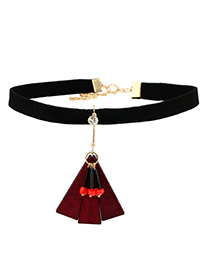 Fashion Red Geometric Shape Pendant Decorated Color Matching Choker