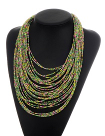 Fashion Green Beads Decorated Color Matching Multi-layer Necklace