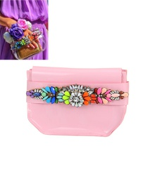 Fashion Pink Diamond Decorated Color Matching Design Shoulder Bag