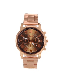 Fashion Coffee Color Matching Decorated Round Dail Simple Chain Watch