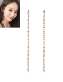 Fashion Gold Color Pearls Decorated Pure Color Long Earrings