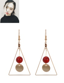 Fashion Red Round Ball Pendant Decorated Triangle Shape Earrings