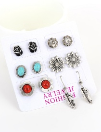 Fashion Multi-color Flowers Decorated Color Matching Simple Earrings(6pcs)
