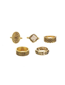 Fashion Gold Color Flower Pattern Decorated Pure Color Simple Ring (5pcs)