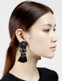 Fashion Black Tassel Pendant Decorated Pure Color Simple Earrings