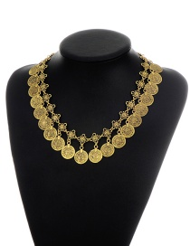 Fashion Gold Color Coins Pendant Decorated Hollow Out Pure Color Necklace