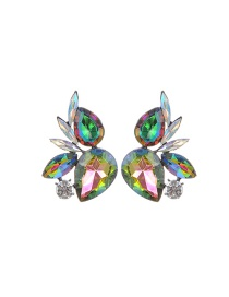 Fashion Green+plum Red Water Drop Shape Diamond Decorated Color Matching Earrings