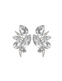 Fashion Silver Color Water Drop Shape Diamond Decorated Pure Color Earrings