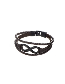 Fashion Black+brown Pure Color Decorated Letter 8 Shape Simple Bracelet