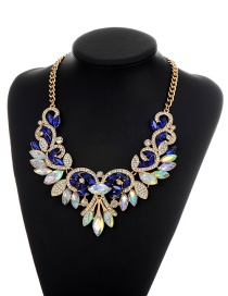 Fashion Sapphire Blue Oval Shape Diamond Decorated Flower Shape Color Matching Necklace