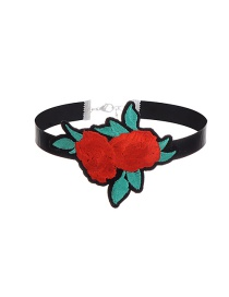 Vintage Multi-color Rose Shape Decorated Simple Short Chain Choker