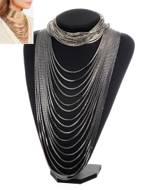Exaggerate Silver Color Pure Color Decorated Simple Multilayer Long Chain Necklace