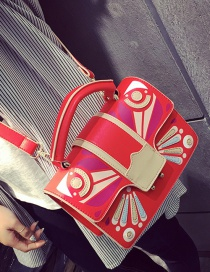 Fashion Red Color Matching Decorated Square Shape Shoulder Bag