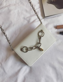 Fashion White Thick Chain Decorated Pure Color Shoulder Bag