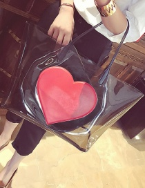 Fashion Red Heart Shape Decorated Transparent Design Shoulder Bag