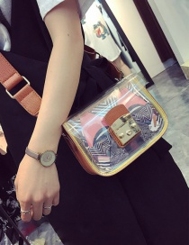 Fashion Yellow Painting Flower Pattern Decorated Square Shape Shoulder Bag