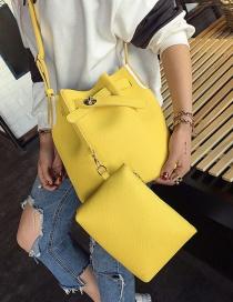 Fashion Yellow Pure Color Decorated Bucket Shape Shoulder Bag (2pcs)