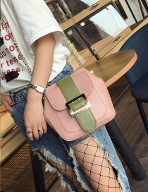 Fashion Pink Square Shape Buckle Decorated Color Matching Shoulder Bag