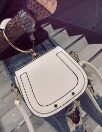 Fashion White Circular Ring Decorated Pure Color Shoulder Bag
