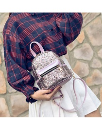 Fashion Multi-color Paillette Decorated Simple Pure Color Backpack