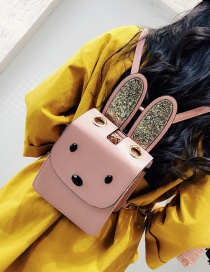 Lovely Pink Rabbit's Ears Decolrated Simple Pure Color Backpack