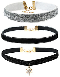 Personalized Black Diamond Decorated Pure Color Simple Choker (3pcs)