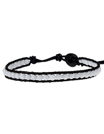 Elegant White Color Matching Decorated Multi-layer Simple Beads Bracelet