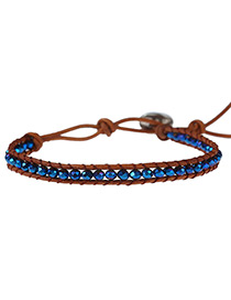 Fashion Sapphire Blue Color Matching Decorated Multi-layer Hand-woven Bracelet