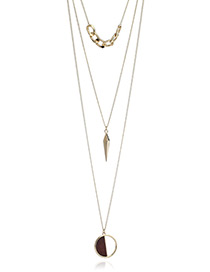 Fashion Gold Color Round Shape Pendant Decorated Multi-layer Necklace