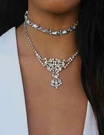 Vintage Silver Color Oval Shape Diamond Decorated Simple Double Layer Choker