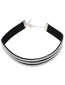 Vintage Silver Color Round Shape Diamond Decorated Simple Short Chain Choker