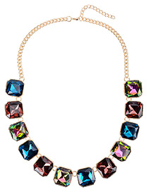 Vintage Multi-color Square Shape Pendant Decorated Simple Short Chain Necklace