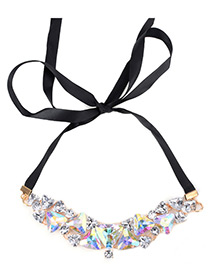 Vintage Multi-color Triangle Shape Diamond Decorated Simple Long Chain Necklace