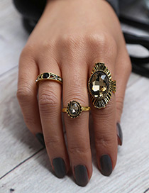 Vintage Gold Color Round Shape Diamond Decorated Simple Rings(3pcs)