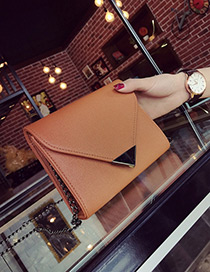 Fashion Brown Metal Triangle Shape Decorated Simple Pure Color Bag