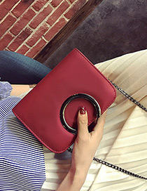 Fashion Red Metal Round Shape Decorated Simple Pure Color Bag