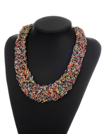 Bohemia Multi-color Color Matching Decorated Simple Hand-woven Necklace