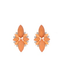 Elegant Orange Oval Shape Gemstone Decorated Simple Earrings
