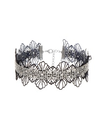 Fashion Black Flowers Decorated Hollow Out Simple Choker