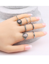 Vintage Silver Color Oval Shape Diamond Decorated Simple Rings(9pcs) (8 Pcs)