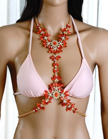 Exaggerate Red Geometric Shape Diamond Decorated Simple Body Necklace