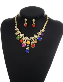 Multi-color Round Shape Diamond Decorated Simple Shortg Chain Jewelry Sets